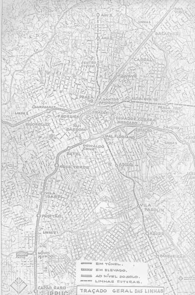 Estudo do metrô de Curitiba - traçado geral das linhas