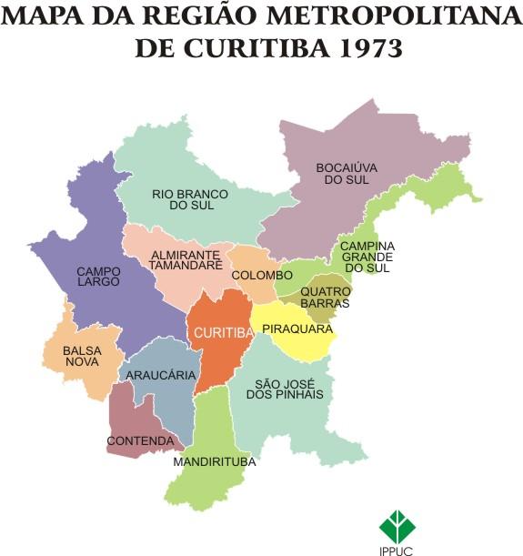 Mapa da Região Metropolitana de Curitiba, 1973